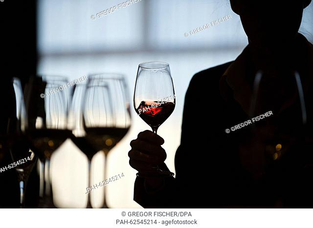 A participant swirls red wine in a glass in order to determine the aromas during a wine tasting within the framework of the 2015 Award for Great Hospitality in...