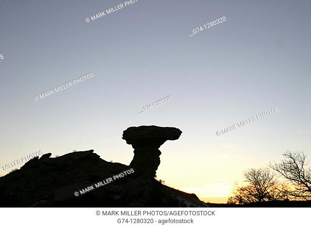 Camel Rock Silhouette at Sunset Santa Fe New Mexico USA