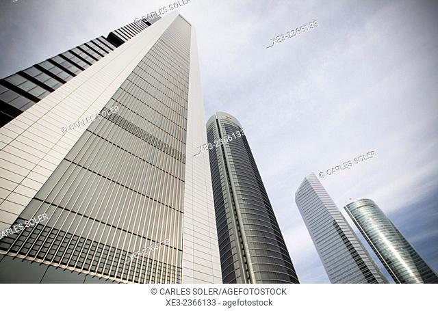 Skyscrapers. Cuatro Torres Business Area (Four Towers Business Area). Paseo de la Castellana. Madrid. Spain