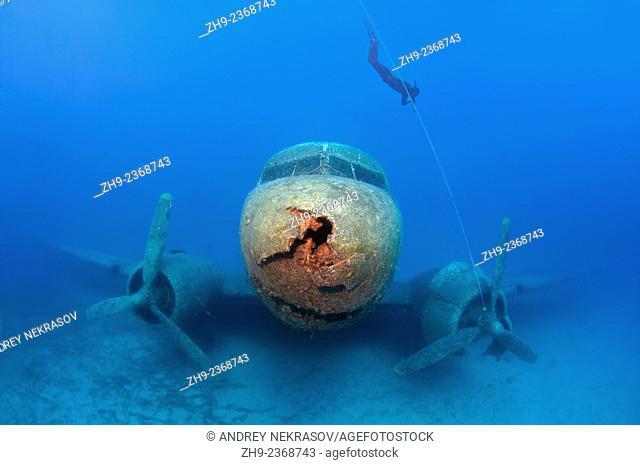 Freediver and wreckplan Douglas DC-3 Dakota, Mediterranean Sea, Kash, Turkey