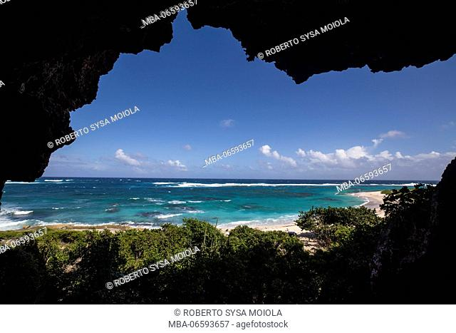 The turquoise caribbean sea seen frome a grotto The Cave Barbuda Leeward Islands West Indies
