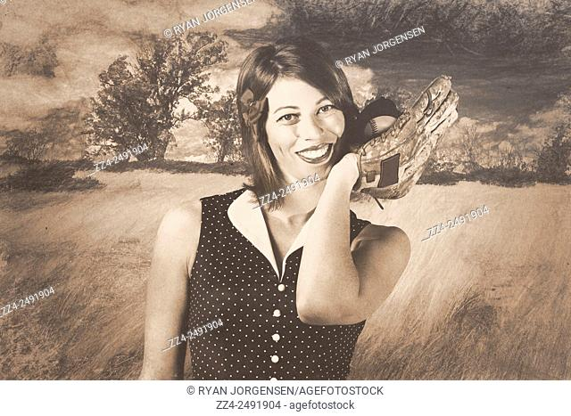 Cute retro pin-up poster girl holding baseball in glove when catching in outfield on hand drawn landscape. Classic sports