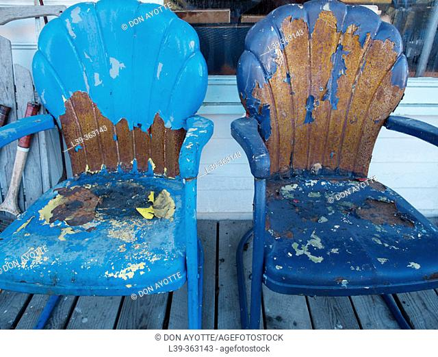 Two chairs. Old country store. Jamaica, Vermont. USA