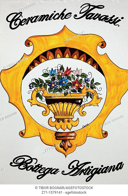 Italy, Campania, Capri, ceramics shop sign