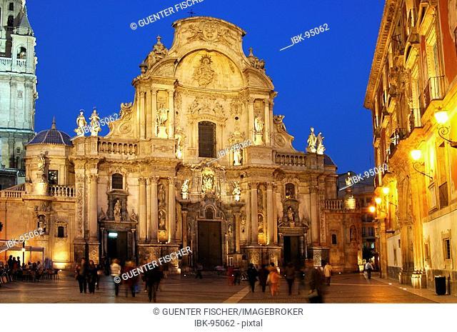 Illuminated Baroquial cathedral Murcia Spain
