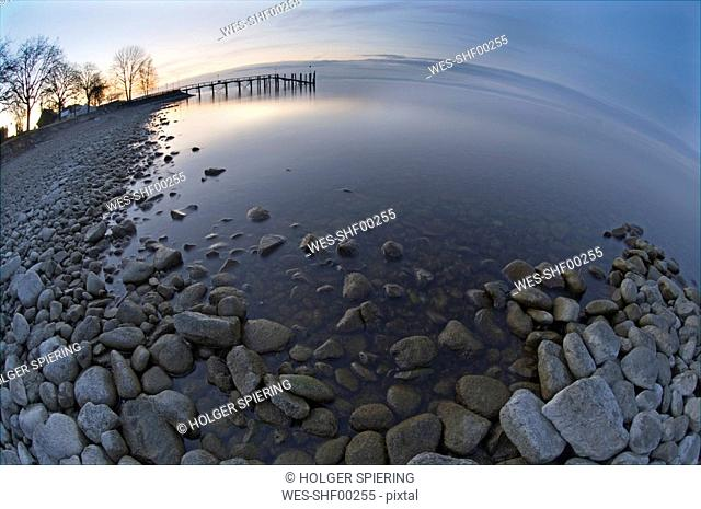 Germany, Lake Constance, Haltnau, Landing stage, fisheye view