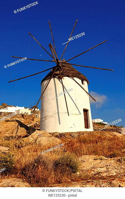 The Windmills overlooking Chora town. Ios Cylcades Islands, Greece