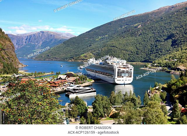 Cruise ship docked at the port of Flam, Norway. The body of water is the Aurlandsfjord