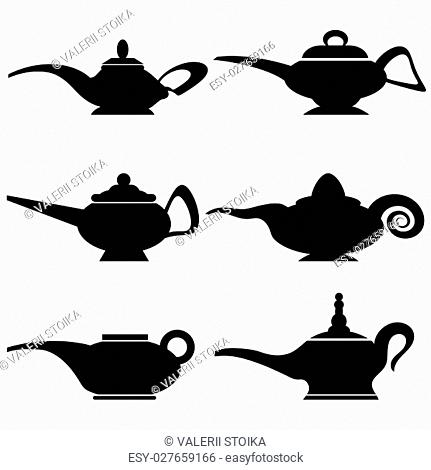 Set of Different Asian Lamp Silhouettes Isolated on White Background