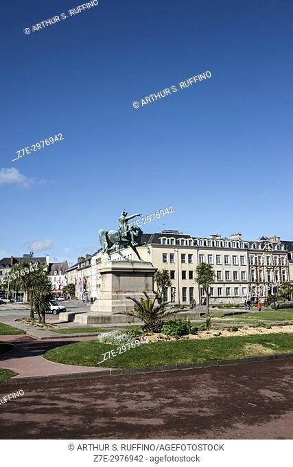 Equestrian statue of Napoleon Bonaparte, Place Napoléon, Octeville, Manche Department, Normandy, France, Europe