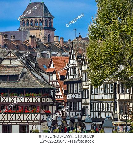 Strasbourg, Strasbourg, part of nice house in Petite France area. in Petite France area, Alsace, Bas Rhin