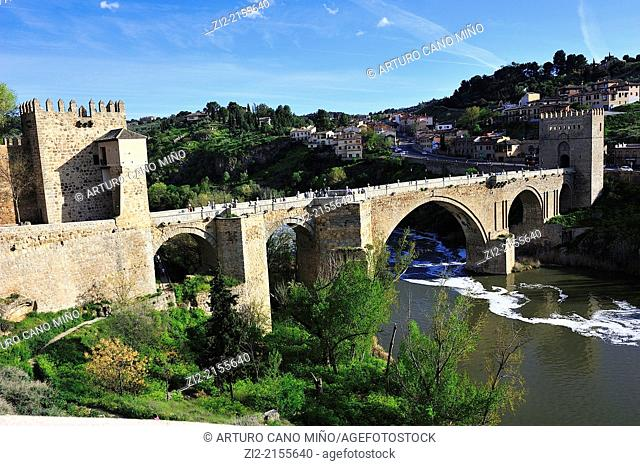 St Martin's Bridge over Tagus River, XIV century, Toledo, Spain