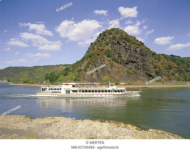Germany, Rhineland-Palatinate, draws near Sink Goarshausen, Loreley-Felsen, Middle Rhine, trip boat, Europe, Rhein-Lahn-Kreis, 'romantic Rhine', Loreley-Fels