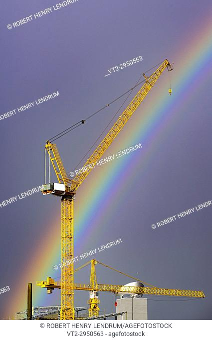Construction crane and rainbow, Hong Kong, China