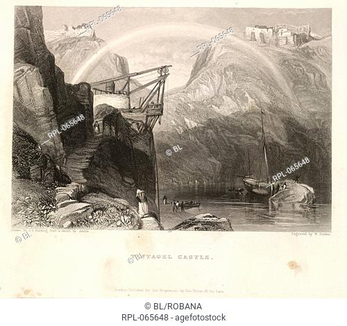 Tintagel Castle, Cornwall. Image taken from The ports, harbours, watering-places, and coast scenery of Great Britain. Illustrated by views taken on the spot