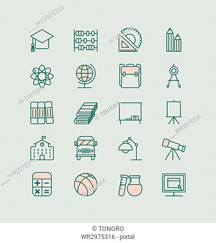 Set of line icons related to education