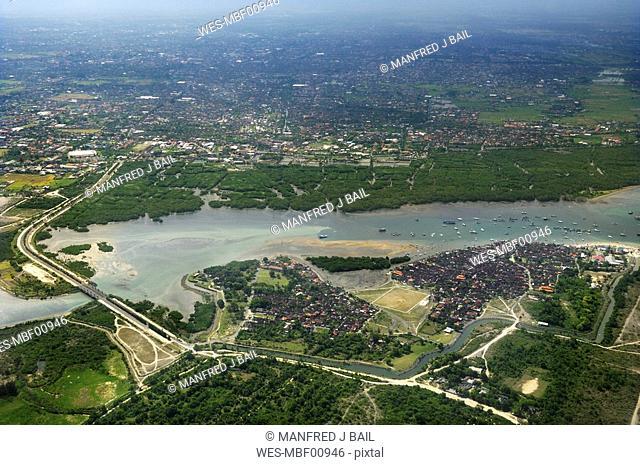 Asia, Indonesia, Denpasar, Bali, Aerial view