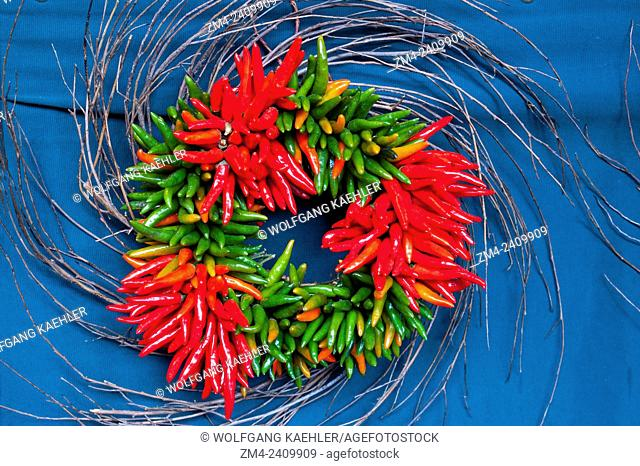 Colorful wreath with chili peppers at the Pike Place Market in Seattle, Washington State, USA