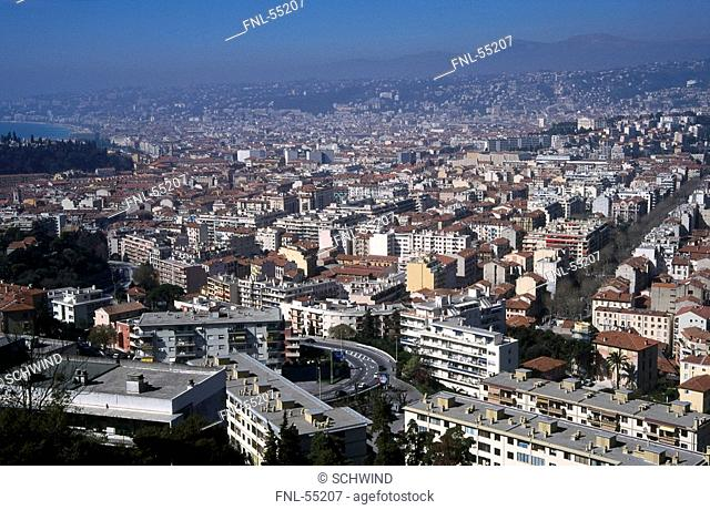 High angle view of town, Nice, France