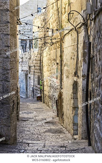 old town cobbled street scene in ancient jerusalem city israel