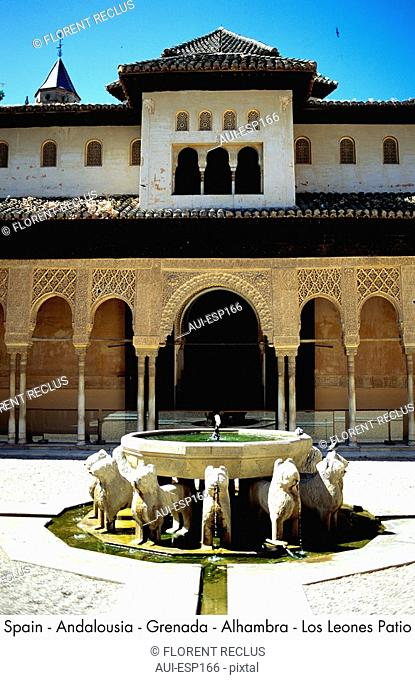 Spain - Andalousia - Grenada - Alhambra - Los Leones Patio Spain
