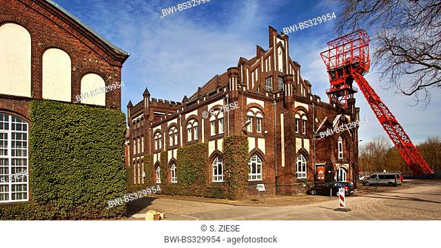 wages hall and shaft tower of the former coal mine Bonifacius, Germany, North Rhine-Westphalia, Ruhr Area, Essen