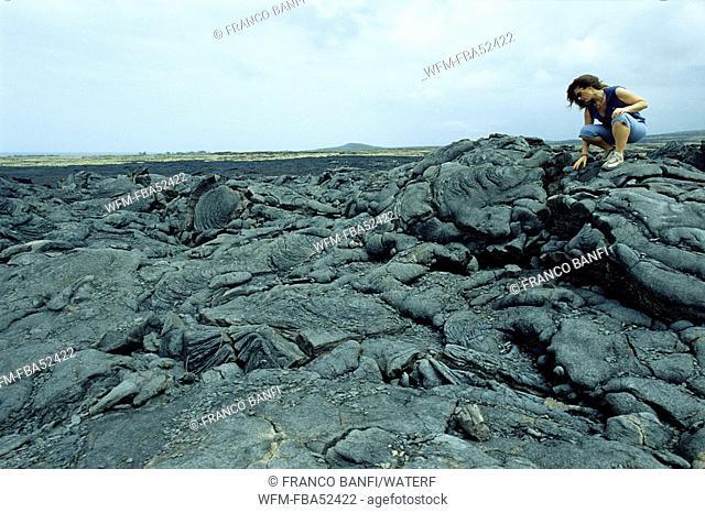 Tourist on Lava Formation, Kona, Big Island, Hawaii, USA