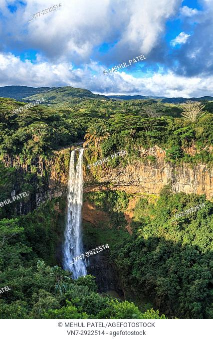 Chamarel Waterfalls, Black River Gorges National Park, Chamarel, Mauritius. Chamarel Waterfalls are the highest in Mauritius with a drop of more than 80 metres...