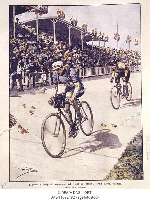 France, 20th century - Tour de France riders arrival in Paris, with Petit-Breton winner. Cover illustration from La Domenica del Corriere