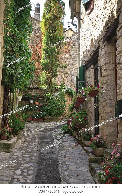 Alleyway in the old town of Vaison la Romaine, Provence, France, Europe