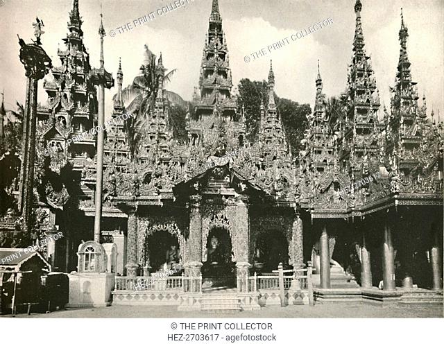 'Wood Carved Shrines with Glass Mosaic work at the Shwe Dagon Pagoda, Rangoon', 1900. Creator: Unknown