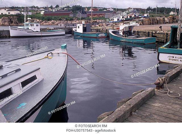 fishing boats, Cape Breton, Cabot Trail, Nova Scotia, NS, Canada, Atlantic Ocean, Scenic view of Neil's Harbor on Cape Breton Island on in Nova Scotia