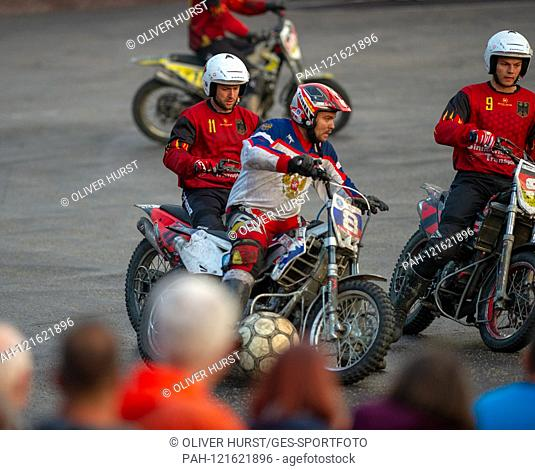 8 Roman Detsina (RUS) on the ball, versus Manuel Fitterer and Justin Tichatschek (GER). GES / Motoball / European Championship, Final: Germany - Russia, 22