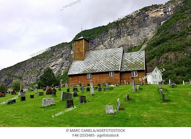 Europe, Norway, gaupne, The old church of Gaupne is a beautiful example of old Lutheran style with its ornamented bench sides, tendril paintings on the walls