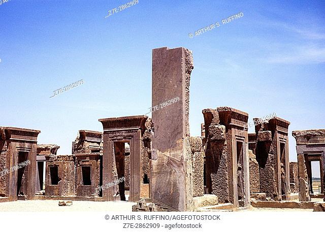 Ruins of Apadana Palace of Emperor Darius the Great, Persepolis archaeological site, Iran