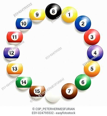 Billiard Balls Round Frame