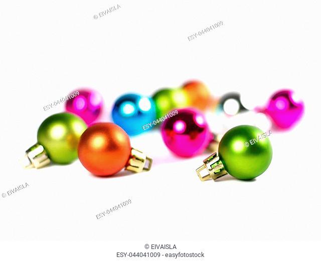 Chrstmas tree balls with focus on the foreground. Multicolored christmas balls