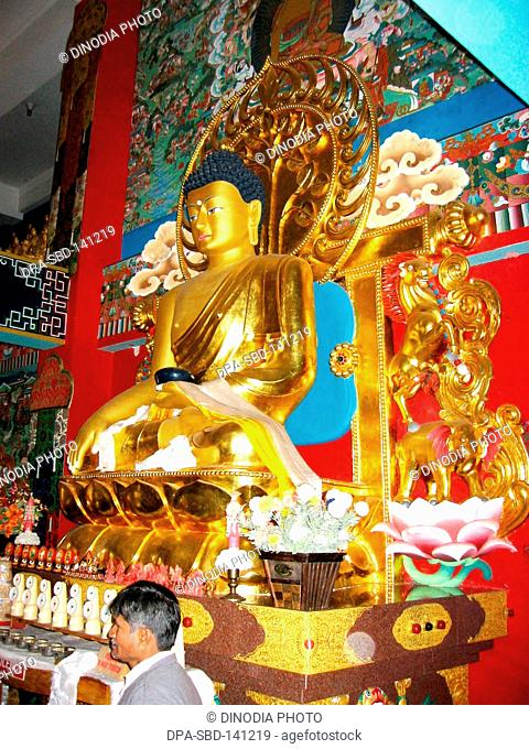Idol of lord Buddha ; the Buddhist stupa of descent from Dewvaloka  ; Uttaranchal ; India