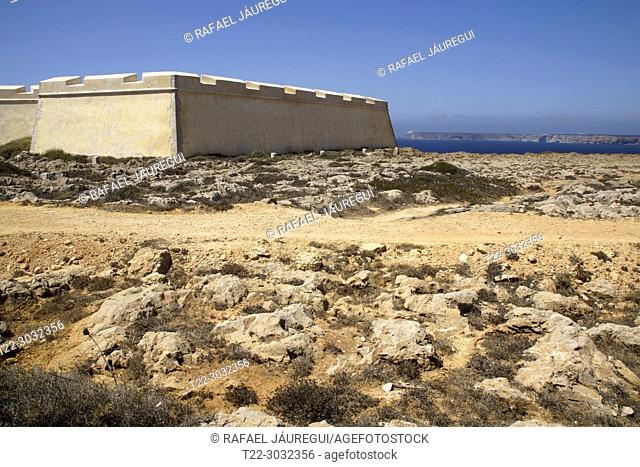 Sagres (Portugal). Exterior of the Fortress of Sagres in the Portuguese Algarve