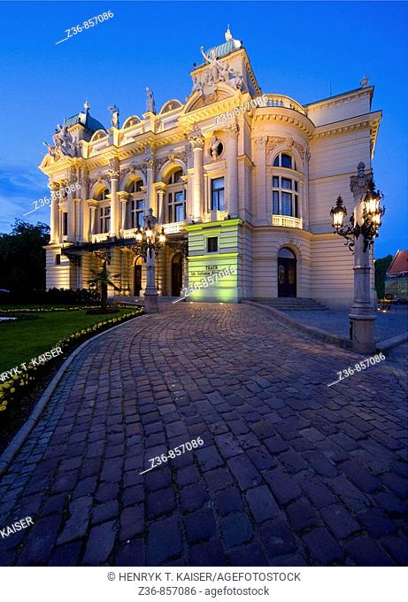 Poland, Krakow, Slowacki Theatre at night