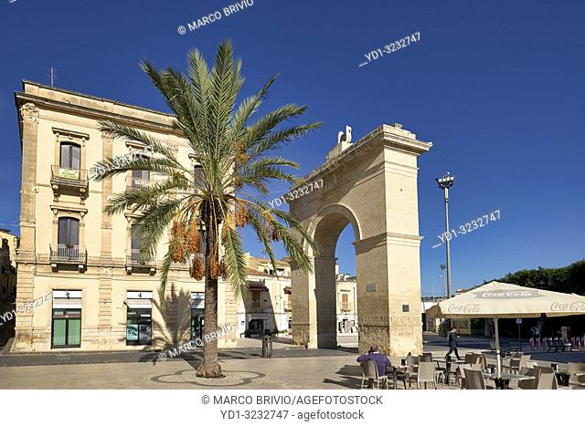Porta Reale (Royal Gate), the entrance to the old city of Noto Sicily Italy