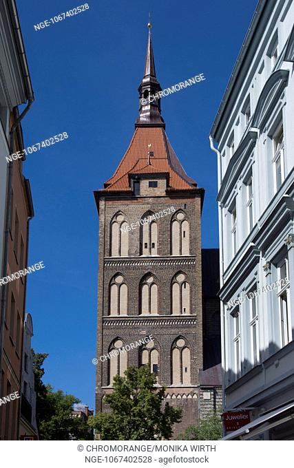 Tower of the St. Marien church, Hanseatic City Rostock, Baltic Sea, Mecklenburg-Vorpommern, Germany, Europe