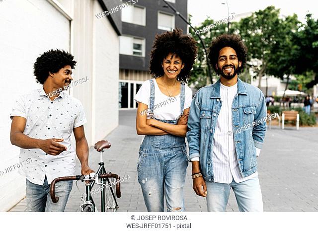 Three friends having fun together
