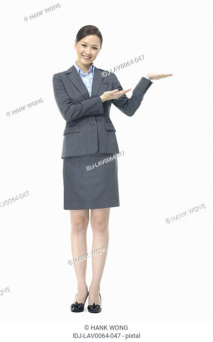 Businesswoman showing her palm