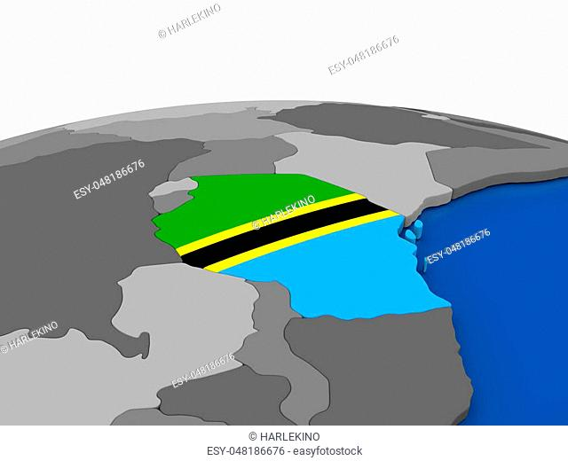 Map of Tanzania with embedded flag on globe. 3D illustration