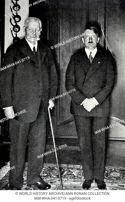President Paul Von Hindenburg with Chancellor Adolf Hitler of Germany 1933