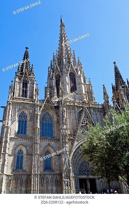 The Bell Tower of the La Seu Cathedral in Barcelona, Spain
