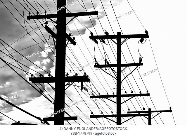 Telephone polls in silhouette with wires and cables, dramatic cloudy sky in the background