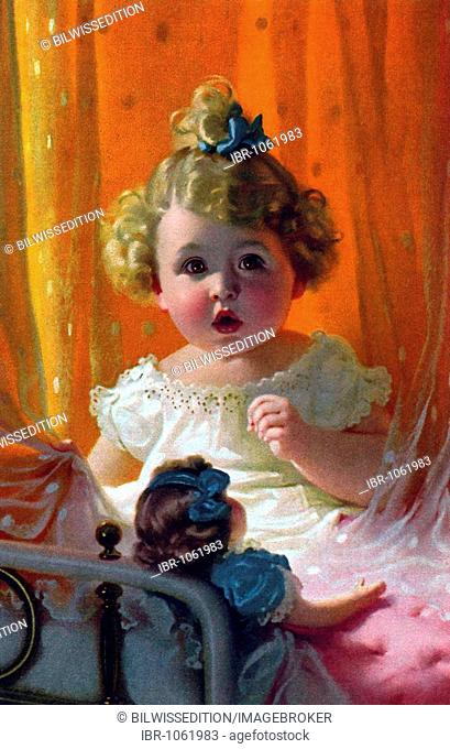 Little girl in the children's room, postcard picture, around 1900
