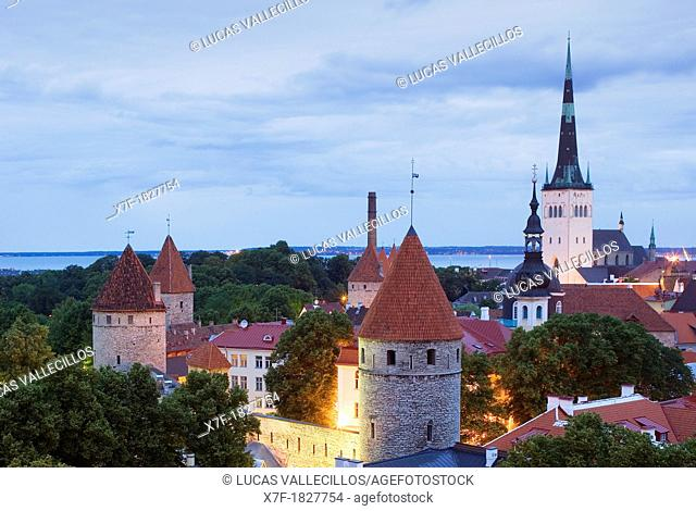 elevated view with St Olaf's Church from Toompea district,Tallinn, Estonia